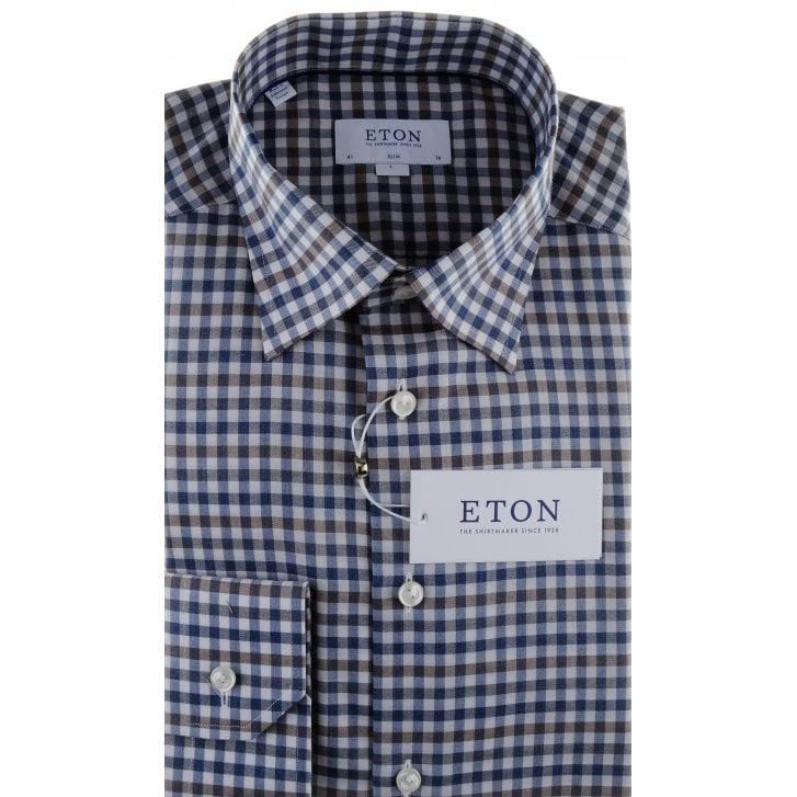 ETON Gingham Cotton Twill Slim Fit Shirt