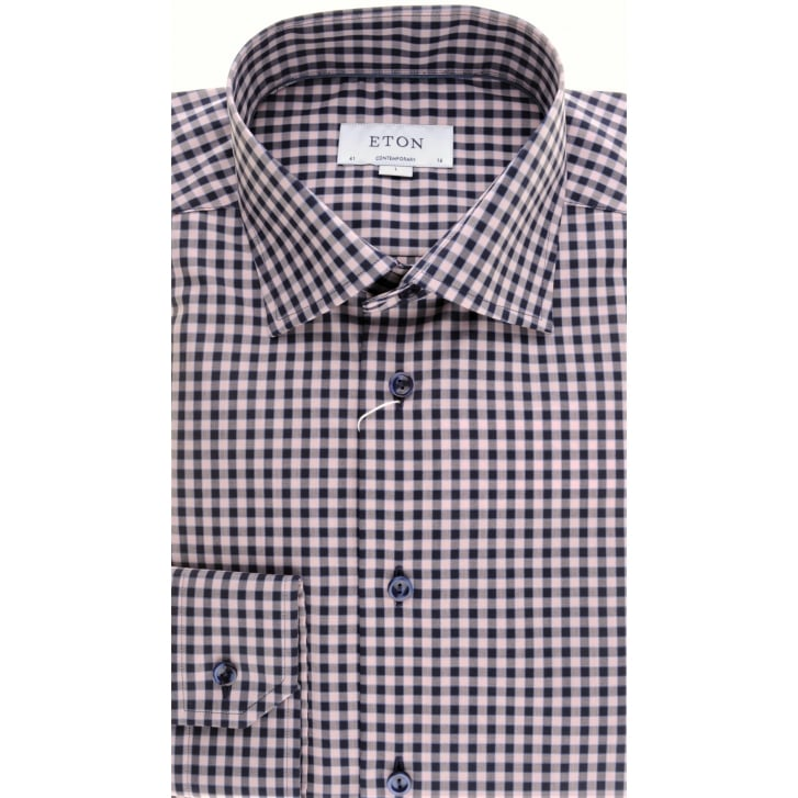 ETON Large Pink Gingham Cotton Shirt
