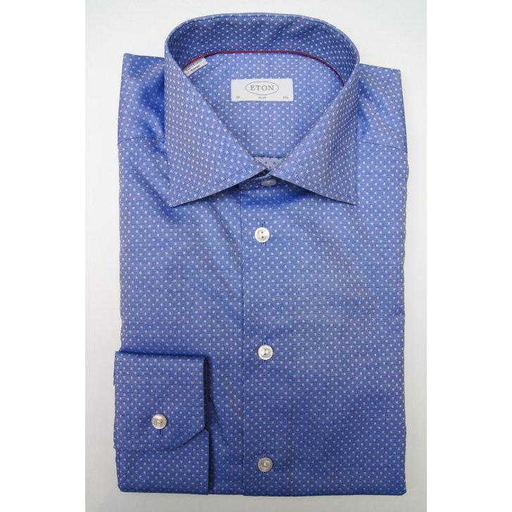 ETON Mens Cotton Blue Patterned Slim Long Sleeved Shirt