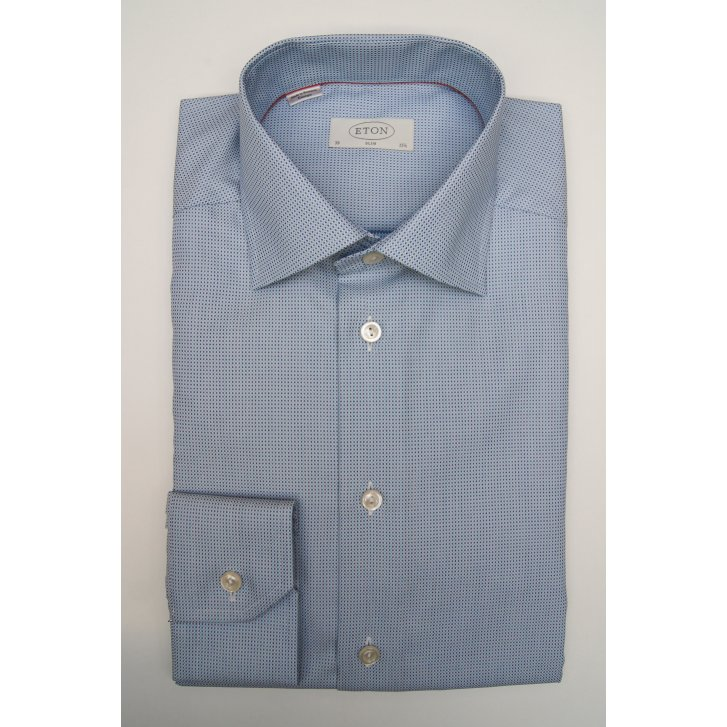 ETON Mens Pure Cotton Blue Spotted Slim Long Sleeved Shirt
