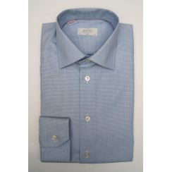 Mens Pure Cotton Blue Spotted Slim Long Sleeved Shirt