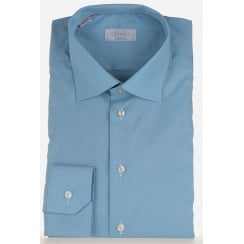 Mens Self Patterned Cotton Mint Tailored Shirt