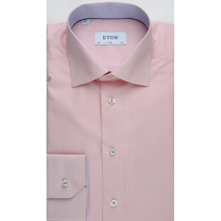 ETON Pink Fine Striped Slim Cotton Shirt