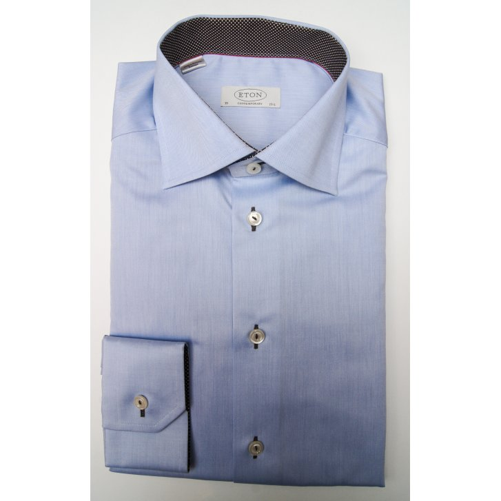 ETON Pure Cotton Blue Shirt in Tailored Fit