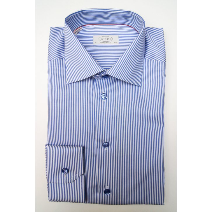 ETON Pure Cotton Blue Stripe Shirt in Tailored Fit
