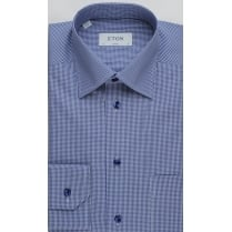 Pure Cotton Fine Gingham Blue Shirt