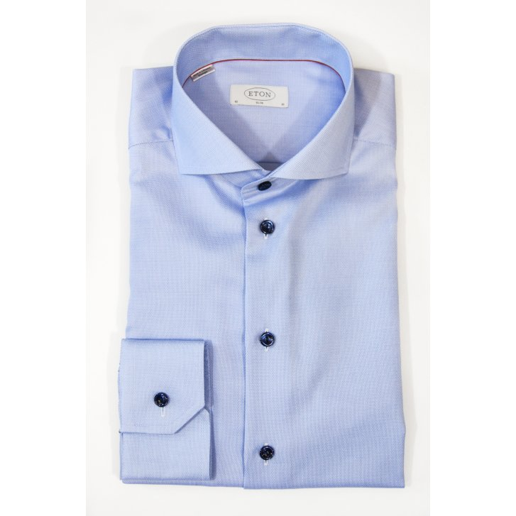 ETON Pure Cotton Pique Shirt in Blue or Pink in a Tailored Fit