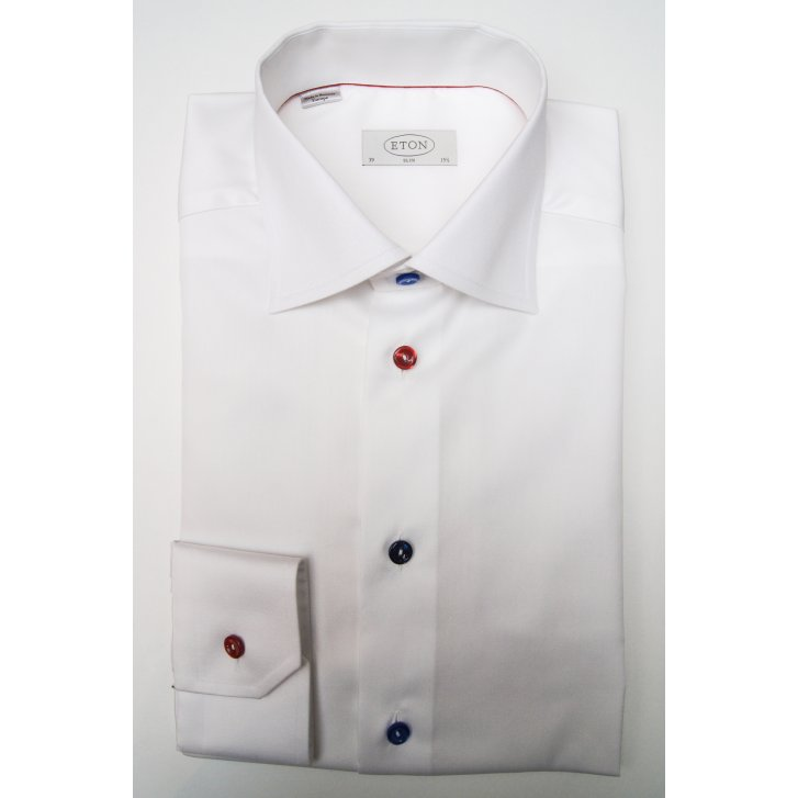 ETON Pure Cotton Plain White Shirt in a Slim Fit
