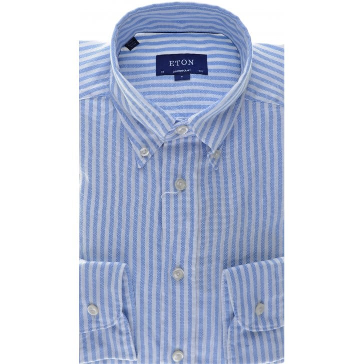 ETON Pure Cotton Relaxed Blue Stripe Shirt in a Contemporary Fit