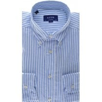 Pure Cotton Relaxed Blue Stripe Shirt in a Contemporary Fit