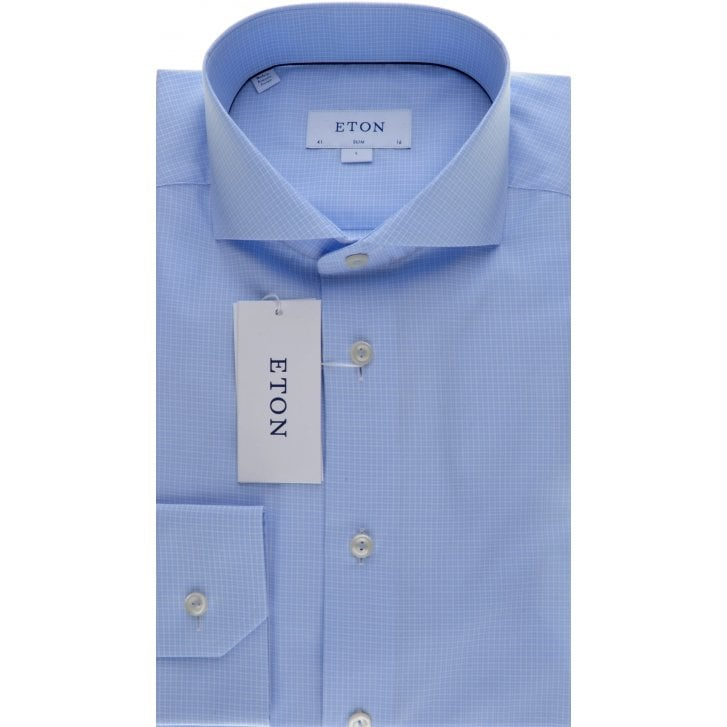 ETON Slim Fit Cotton Shirt with Cutaway Collar in a Blue Check