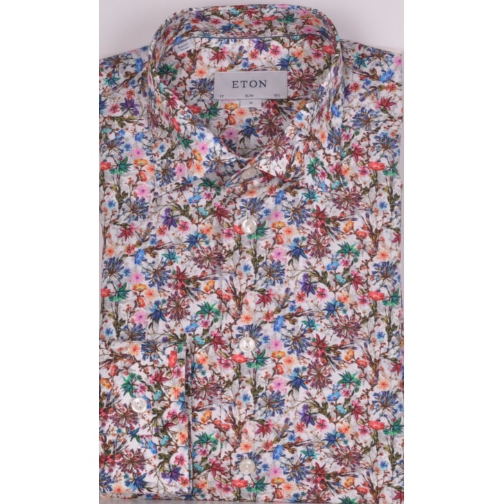ETON Slim Fit Floral Cotton Shirt