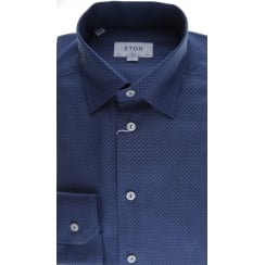 Slim Fit Shirt Navy Self Diamond Pattern