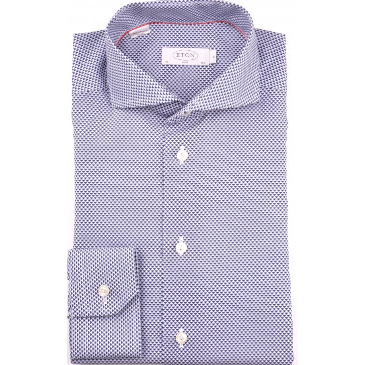 ETON Slim Fitting Navy Patterned Shirt