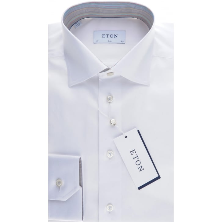 ETON Slim White Cotton Twill Shirt With Trim
