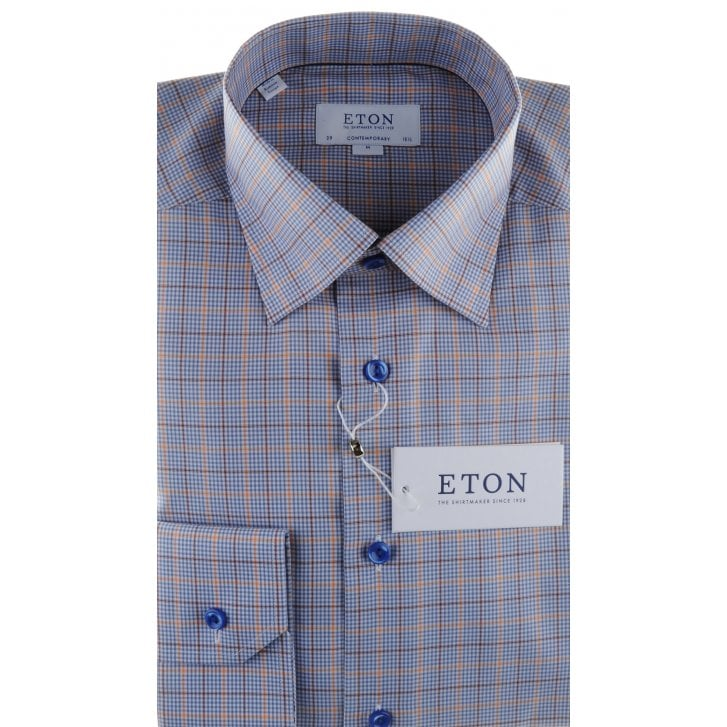 ETON Small Checked Cotton Shirt With Button Down Collar