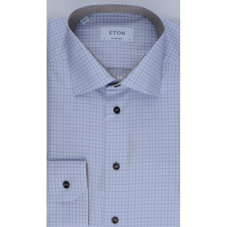 ETON Tailored Cotton Blue Check Shirt