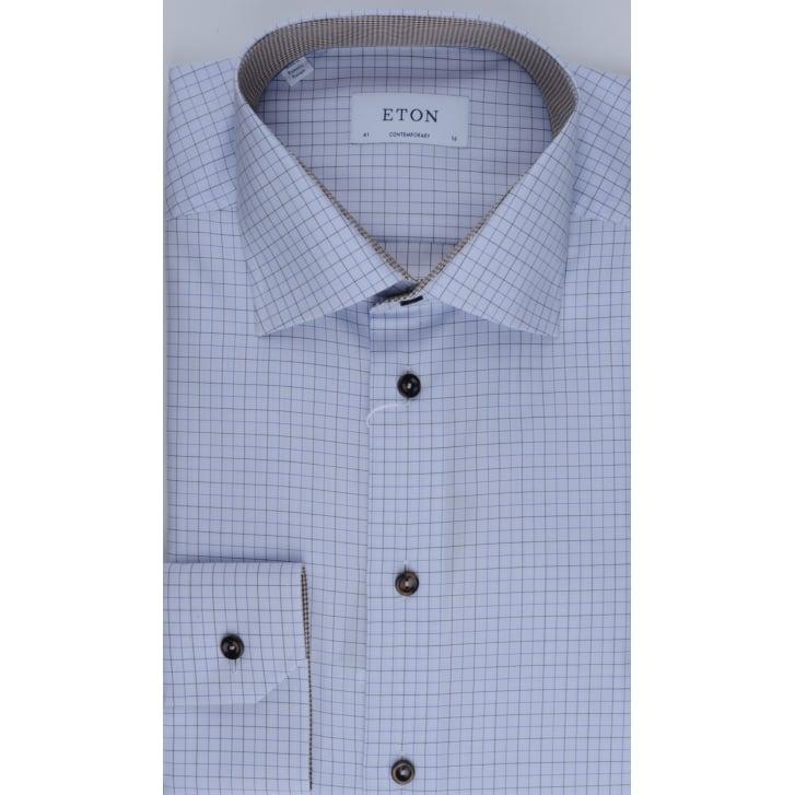 ETON Tailored Cotton Blue Check Shirt