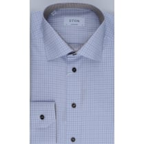 Tailored Cotton Blue Check Shirt