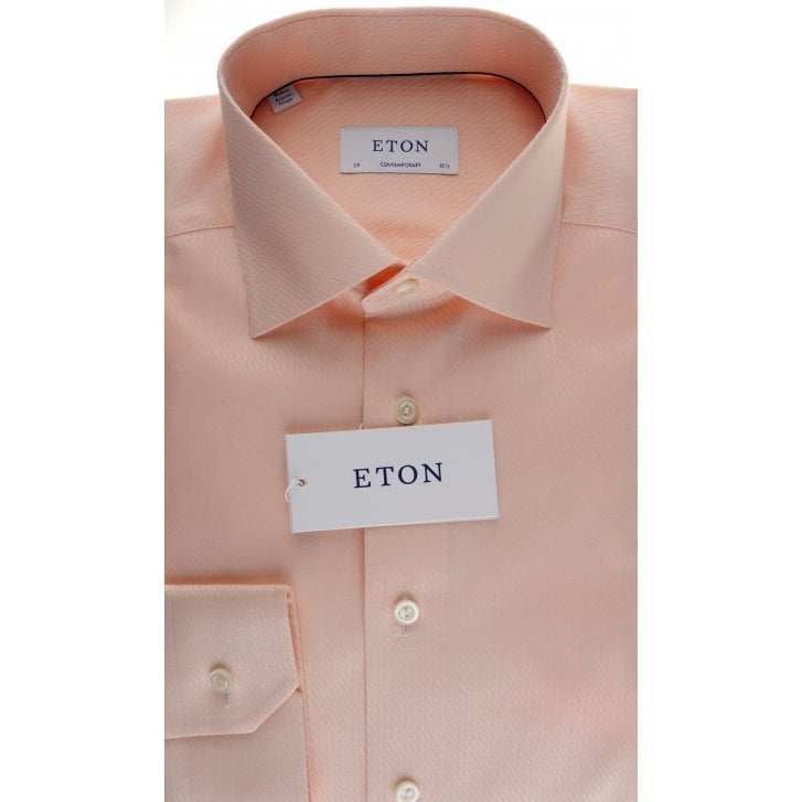 ETON Wavy Pattern Cotton Shirt in Peach and Sky Blue