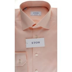 Wavy Pattern Cotton Shirt in Peach and Sky Blue