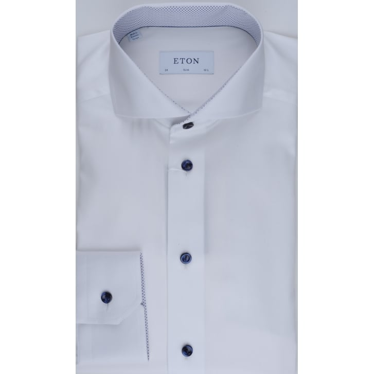 ETON White Cotton Slim Fit Shirt with a Cutaway Collar