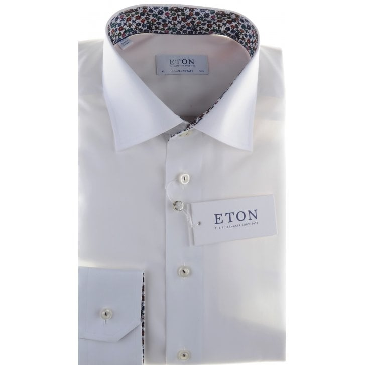 ETON White Cotton Tailored Fit Shirt with Trim Detail