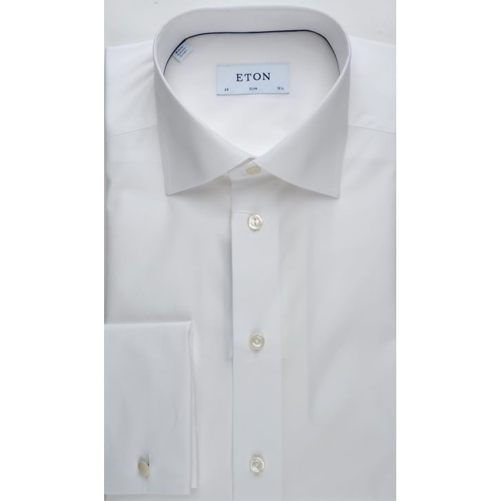 ETON White Slim Fit Cotton Double Cuff Shirt
