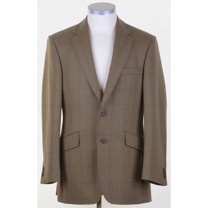 BLADEN Fawn Tweed Supasax Lite Tailored Jacket with Overcheck