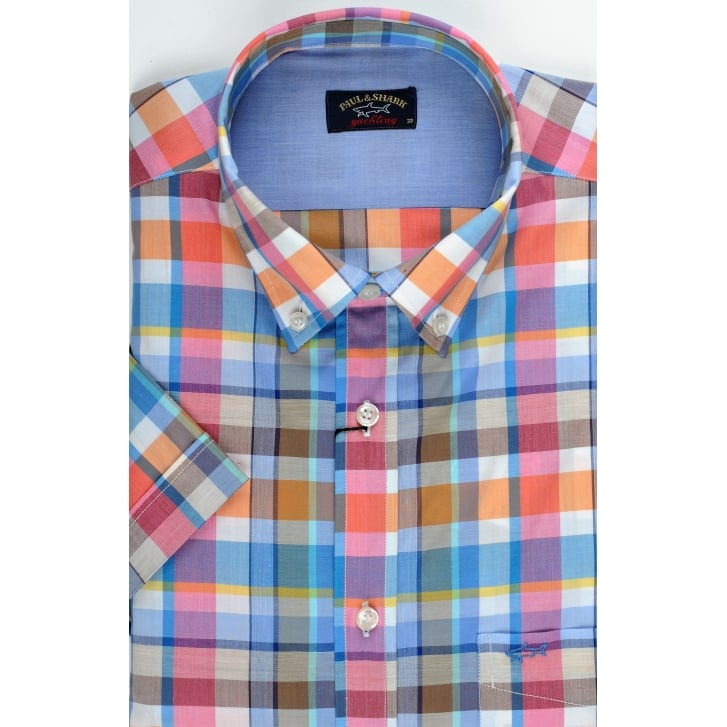 PAUL & SHARK Fine Cotton Short Sleeved Check Shirt