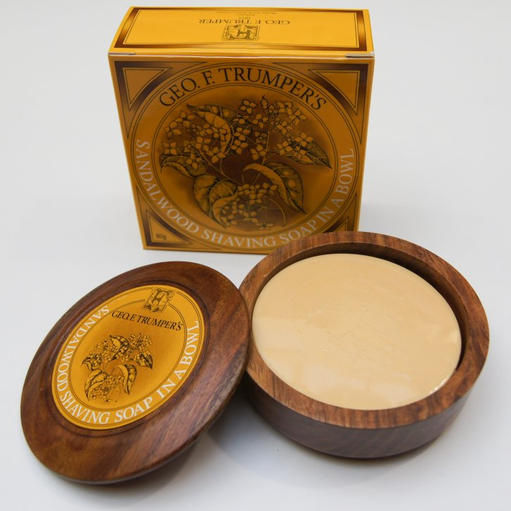 GEO F TRUMPER Sandlewood Shaving Soap in a Wooden Bowl