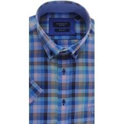 Button Down Collar Checked Cotton Short Sleeved Shirt