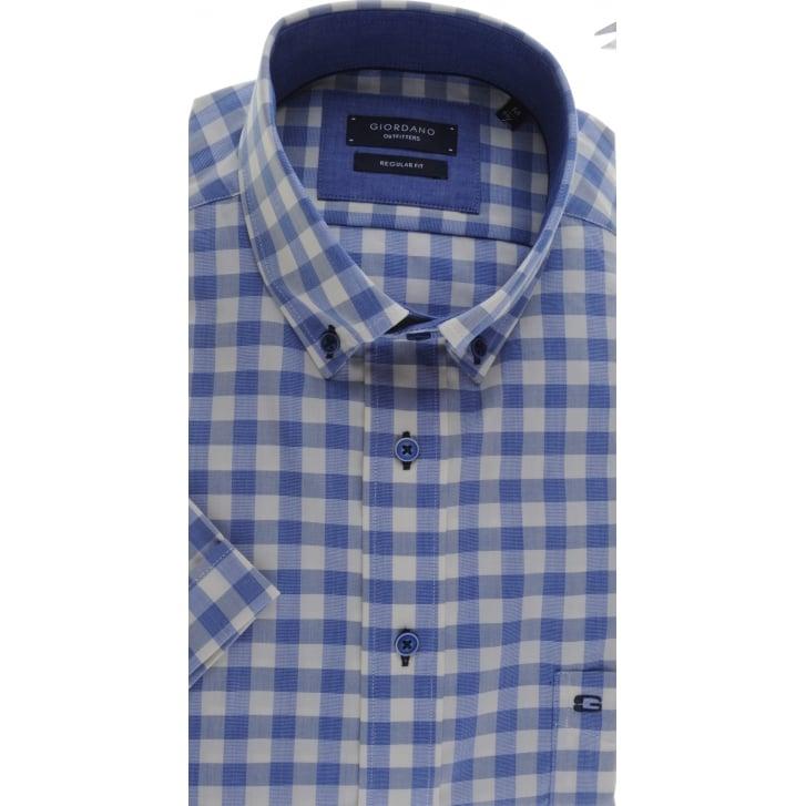GIORDANO Button Down Collar Checked Cotton Short Sleeved Shirt