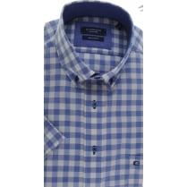 Button Down Collar Checked Cotton Short Sleeved Shirt