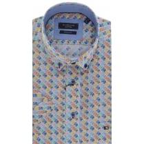 Button Down Collar Cotton Short Sleeved Shirt