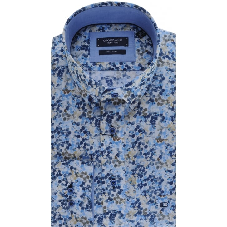 GIORDANO Button Down Collar Shirt with Leaf Pattern