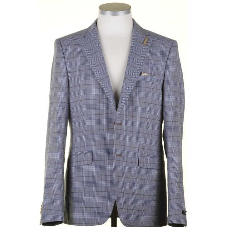 GIORDANO Cotton and Linen Blue Prince of Wales Check Jacket
