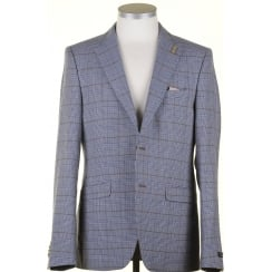 Cotton and Linen Blue Prince of Wales Check Jacket