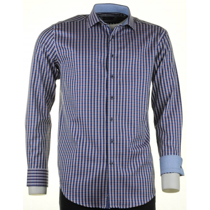 GIORDANO Cotton Gingham Shirt Navy and Wine