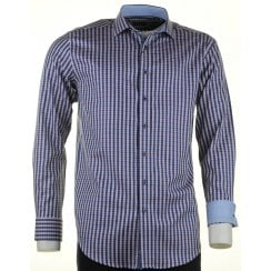 Cotton Gingham Shirt Navy and Wine