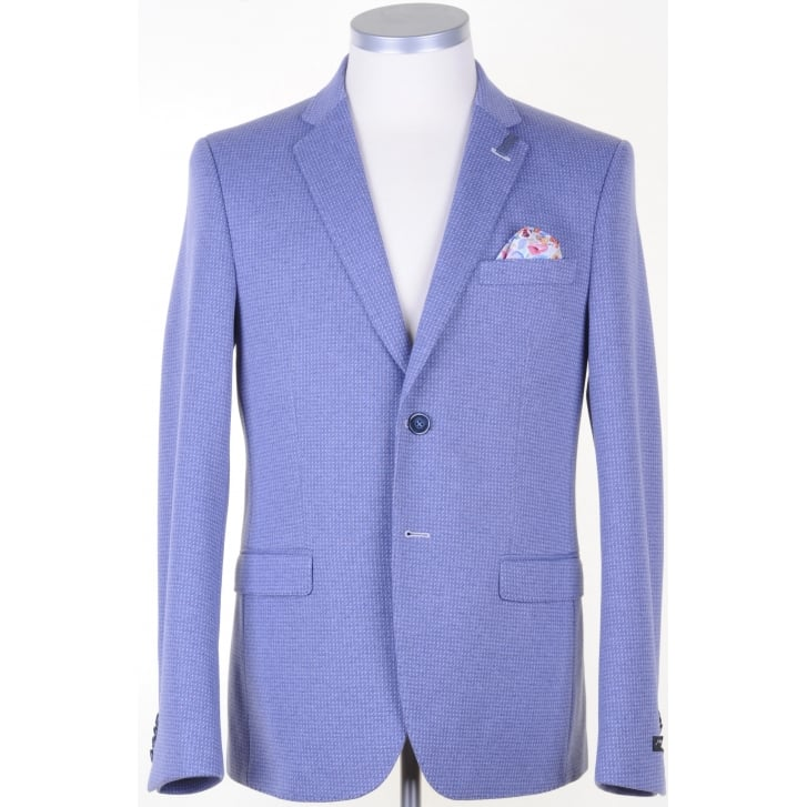 GIORDANO Cotton Mix Tailored Jacket in a Blue Pattern