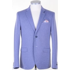 Cotton Mix Tailored Jacket in a Blue Pattern