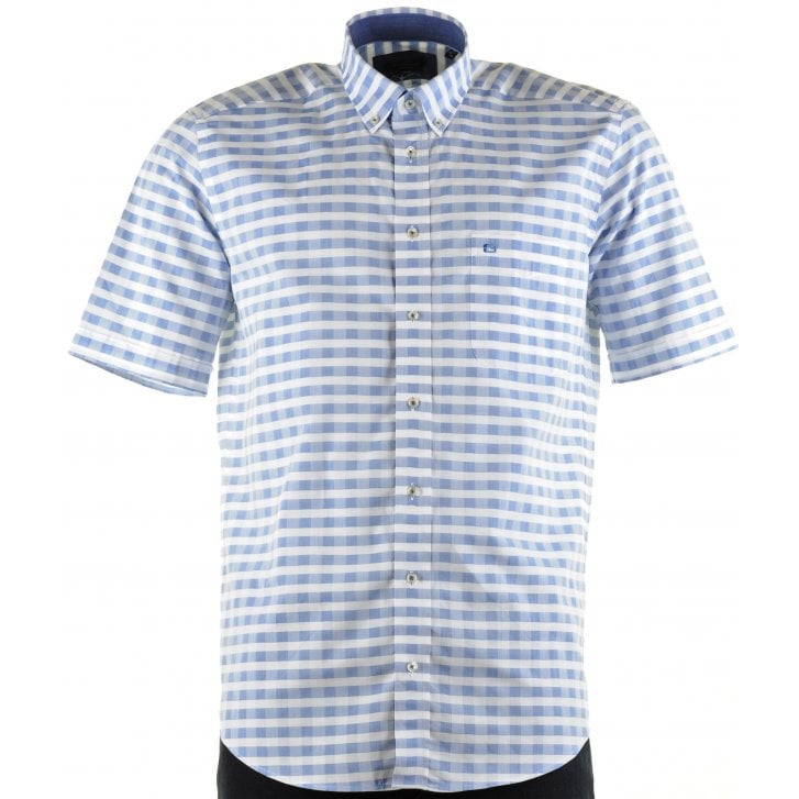 GIORDANO Cotton Short Sleeved Shirt in Check Design