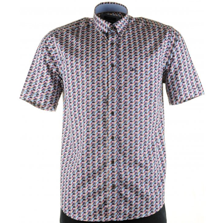 GIORDANO Cotton Short Sleeved Shirt in Fancy Design