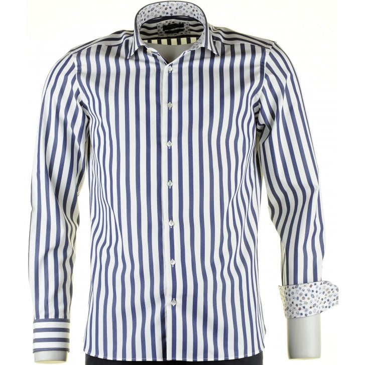 GIORDANO Cotton Tailored Shirt in a Butchers Stripe