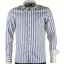 Cotton Tailored Shirt in a Butchers Stripe