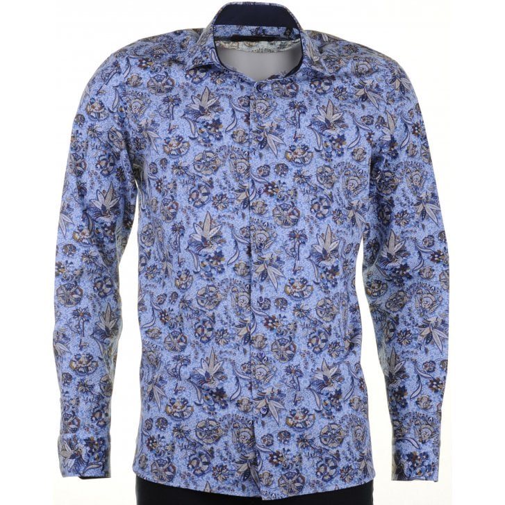 GIORDANO Cotton Tailored Shirt with Birds and Flowers Design