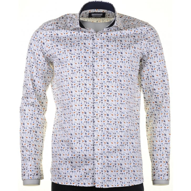GIORDANO Cotton Tailored Shirt with Guitar Design