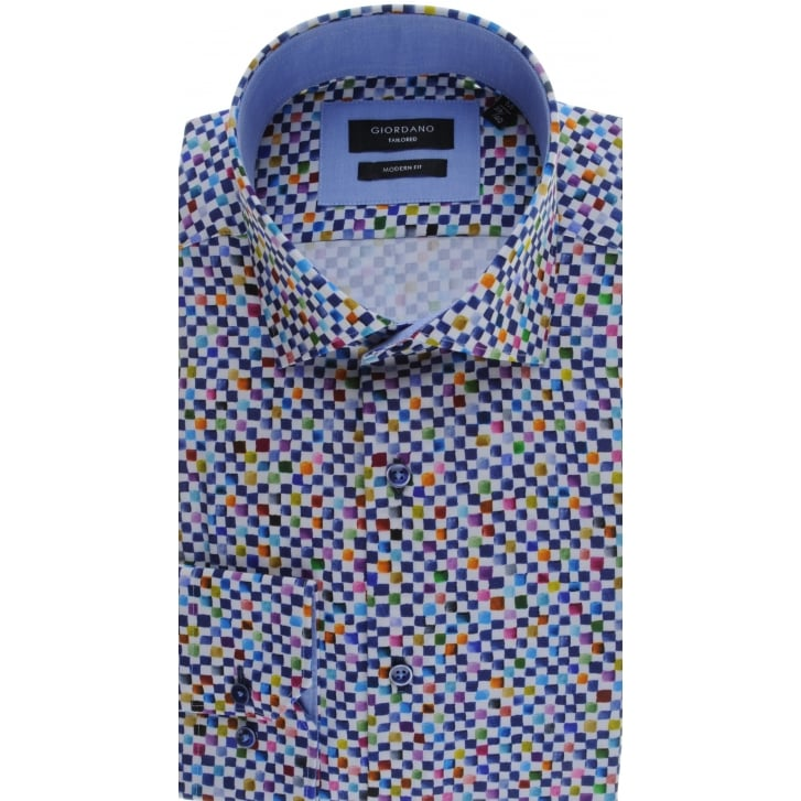 GIORDANO Cotton Tailored Shirt with Multi Square Design
