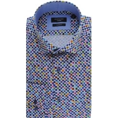 Cotton Tailored Shirt with Multi Square Design